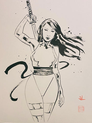 David Mack Original Art Psylocke Brush & Ink