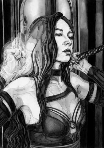 Ingrid Gala Original Art Psylocke Graphite Illustration