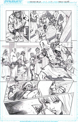 Sergio Davila Original Art Red Sonja: Birth of the She-Devil #1 Page 14
