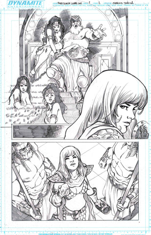 Sergio Davila Original Art Red Sonja: Birth of the She-Devil #1 Page 2