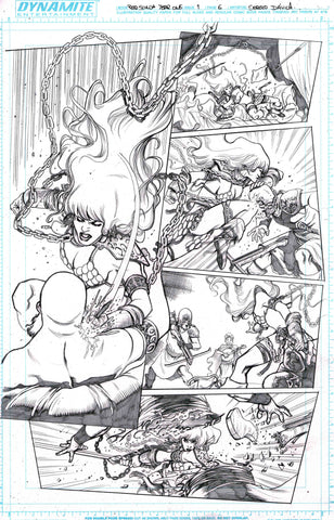 Sergio Davila Original Art Red Sonja: Birth of the She-Devil #1 Page 6