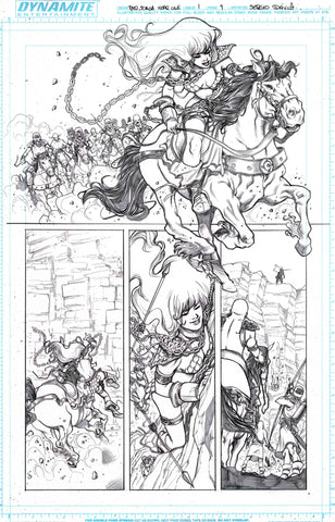 Sergio Davila Original Art Red Sonja: Birth of the She-Devil #1 Page 9