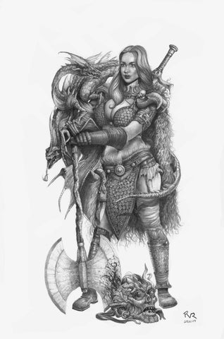 Pepe Valencia Published Original Art Red Sonja Graphite Illustration