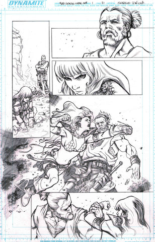 Sergio Davila Original Art Red Sonja: Birth of the She-Devil #1 Page 21