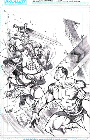 Sergio Davila Original Art Red Sonja Superpowers #2 Cover
