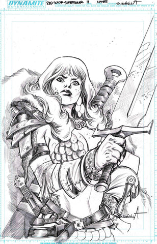 Sergio Davila Original Art Red Sonja Superpowers #4 Cover