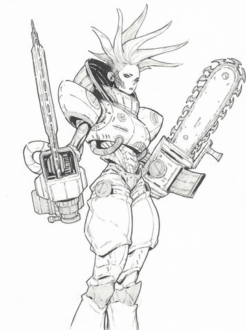 Jon Lam Original Art Space Ranger Chainsaw Girl Illustration