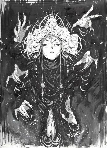 Jon Lam Original Art Lady Destiny Illustration