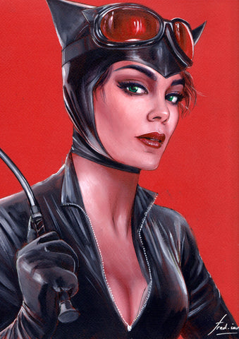 Fred Ian Original Art Catwoman Oil Painted Illustration