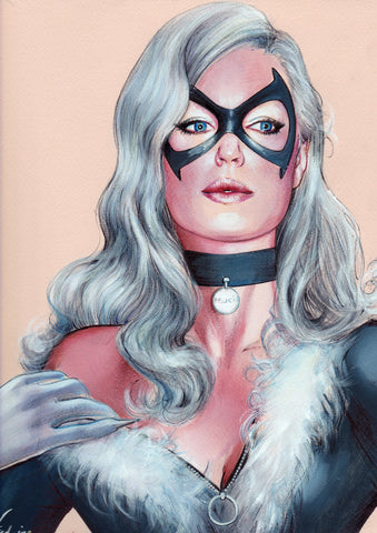Fred Ian Original Art Black Cat 2 Detailed Oil Painted Sketch
