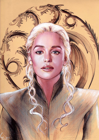 Fred Ian Original Art Game of Thrones Daenerys Detailed Oil Painted Sketch