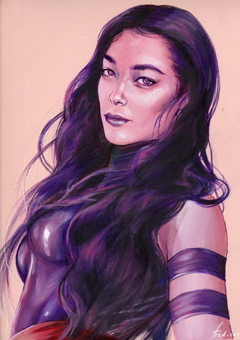Fred Ian Original Art Psylocke Detailed Oil Painted Sketch