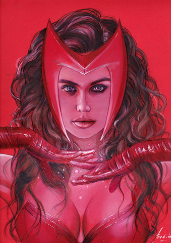 Fred Ian Original Art Scarlett Witch Detailed Oil Painted Sketch