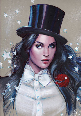 Fred Ian Original Art Zatanna Detailed Oil Painted Sketch
