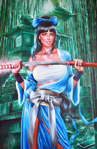 Fred Ian Original Art Samurai of Oz Cover Canvas Oil Painting