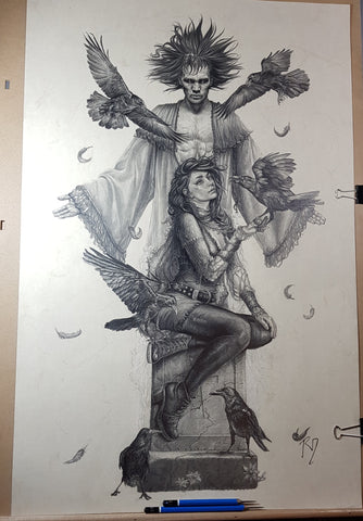 Pepe Valencia Original Art Sandman & Death Graphite Illustration