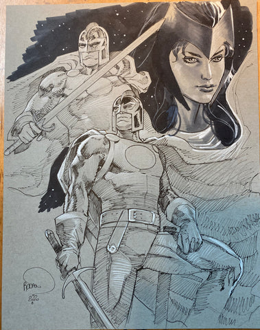Paul Renaud Original Art Black Knight & Scarlet Witch Study Illustration