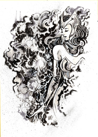 Vincenzo Riccardi Original Art Scarlet Witch Illustration