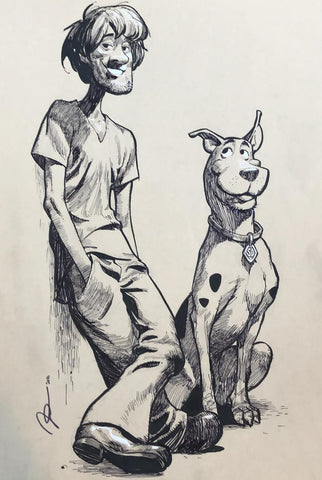 Gerald Parel Original Art Scooby Doo A3 Illustration + Complimentary Sketch Piece Included