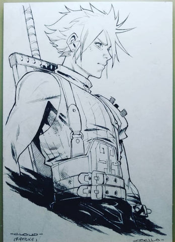 Iban Coello Original Art Cloud 1 (Final Fantasy) Fan Art Challenge Illustration