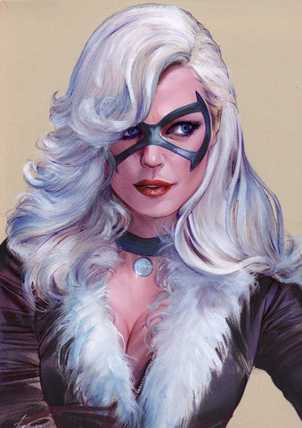 Fred Ian Original Art Black Cat Detailed Oil Painted Sketch