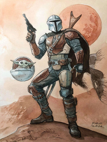 Enrico Marini Original Art Star Wars Mandalorian & Baby Yoda Illustration