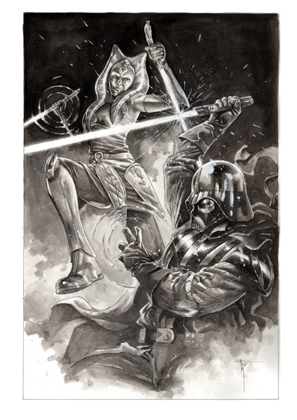 Francesco Mobili Original Art Ahsoka vs Darth Vader Illustration
