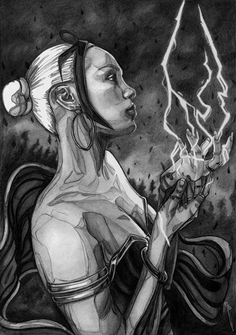 Ingrid Gala Original Art Storm Graphite Illustration