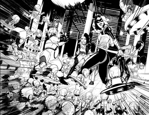 Javier Fernandez Original Art Teen Titans #45 Page 8-9 Double Page Spread