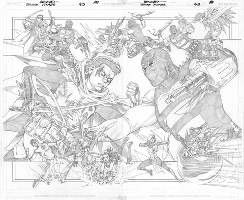 Jesus Merino Original Art Teen Titans #43 Page 18-19 Double Page Spread