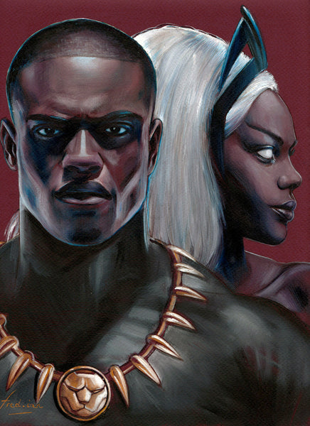Fred Ian Original Art Black Panther & Storm Oil Painted Illustration