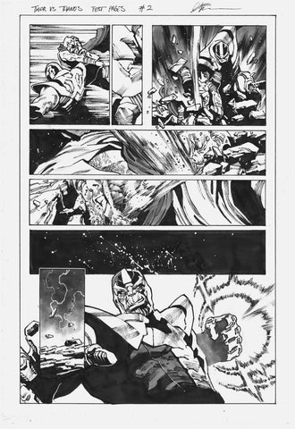 Dike Ruan Original Art Thor vs Thanos Marvel Test Page 2
