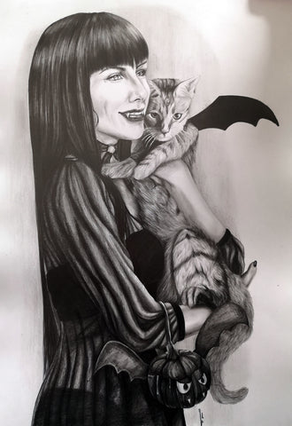 Ingrid Gala Original Art Vampirella Halloween Illustration