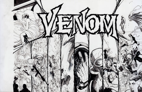 Gerardo Sandoval Original Art Venom #1 Page 11-12A Double Page Spread Unused
