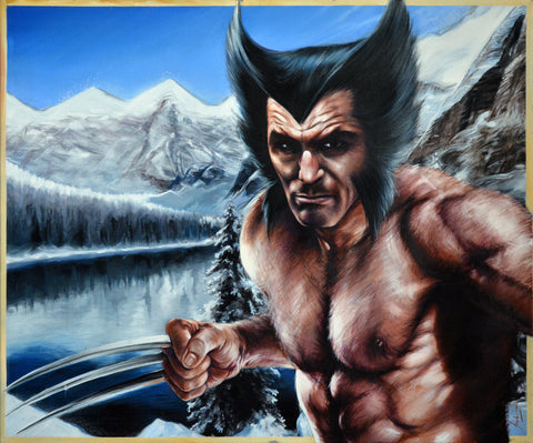 Fred Ian Original Art Wolverine Canvas Oil Painting