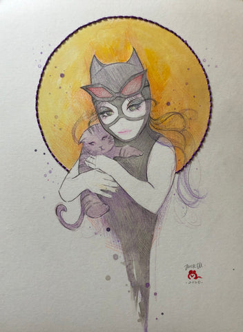Zu Orzu Original Art Whimsical Catwoman