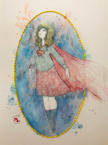 Zu Orzu Original Art Whimsical Supergirl