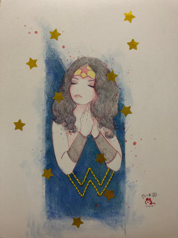 Zu Orzu Original Art Whimsical Wonder Woman
