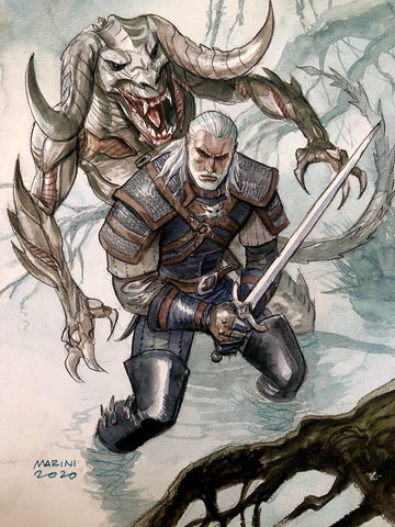 Enrico Marini Original Art Witcher Illustration