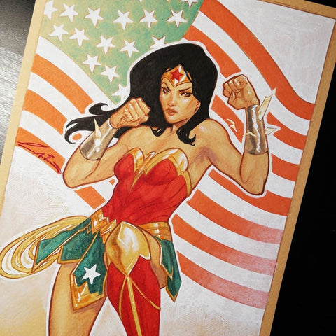Emilio Laiso Original Art Wonder Woman Illustration