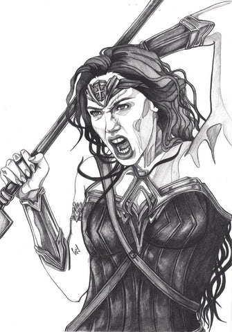 Ingrid Gala Original Art Gal Gadot Wonder Woman Illustration