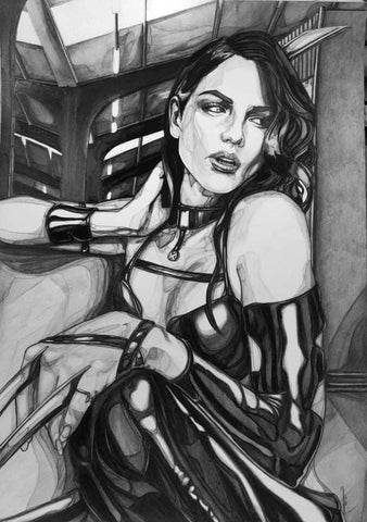 Ingrid Gala Original Art X-23 Graphite Illustration