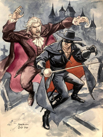 Enrico Marini Original Art Zorro vs Dracula Illustration