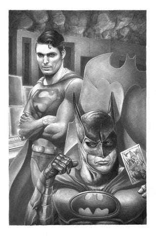 Pepe Valencia Original Art Classic Batman & Superman Graphite Illustration