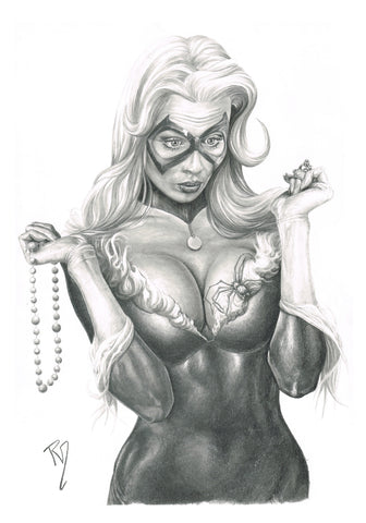 Pepe Valencia Original Art Black Cat Portraits Collection Illustration