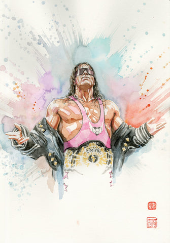 David Mack Bret 'The Hitman' Hart Double Signed Cold Press Art Print