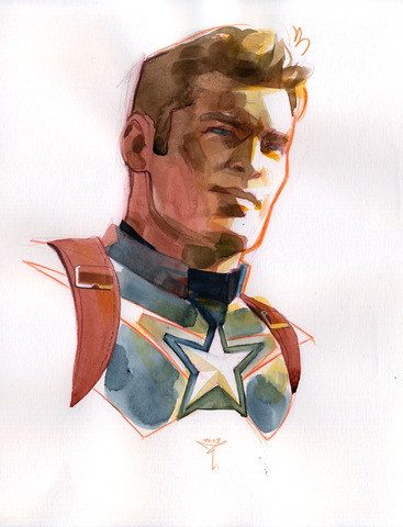 Clara Tessier Original Art Captain America Painted Sketch