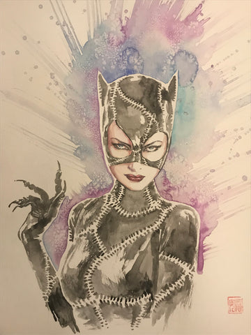 David Mack Original Art Catwoman Illustration