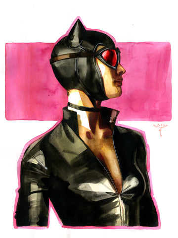 Clara Tessier Original Art Catwoman 'Batman Heroes & Villains Collection' Illustration