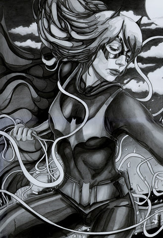 Ingrid Gala Original Art Batgirl A3 Graphite Illustration